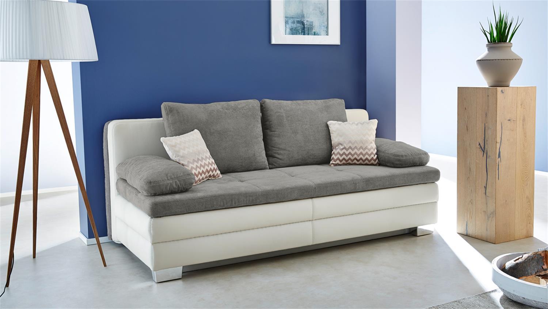 Dauerschl fer lincoln schlafsofa sofa in wei grau mit topper for Schlafsofa kaltschaum