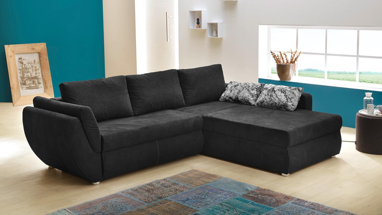 wohnlandschaft taifun ecksofa sofa schwarz bettfunktion. Black Bedroom Furniture Sets. Home Design Ideas