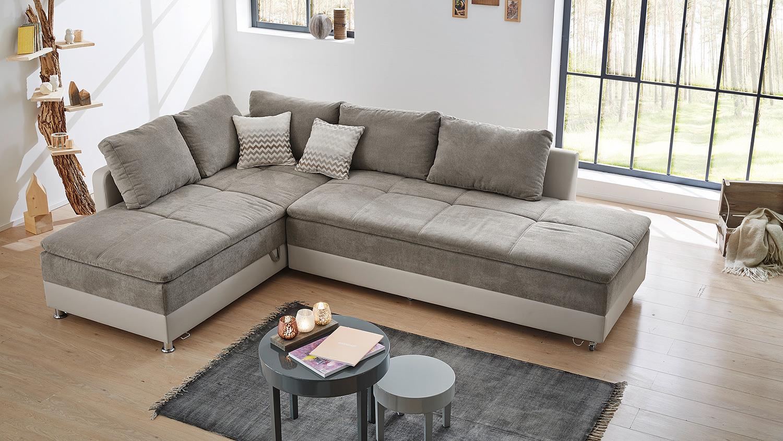 Wohnlandschaft rechts modena sofa bett in greige mit nako for Bett mit couch