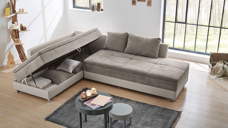 Wohnlandschaft rechts modena sofa bett in greige mit nako for Wohnlandschaft bett