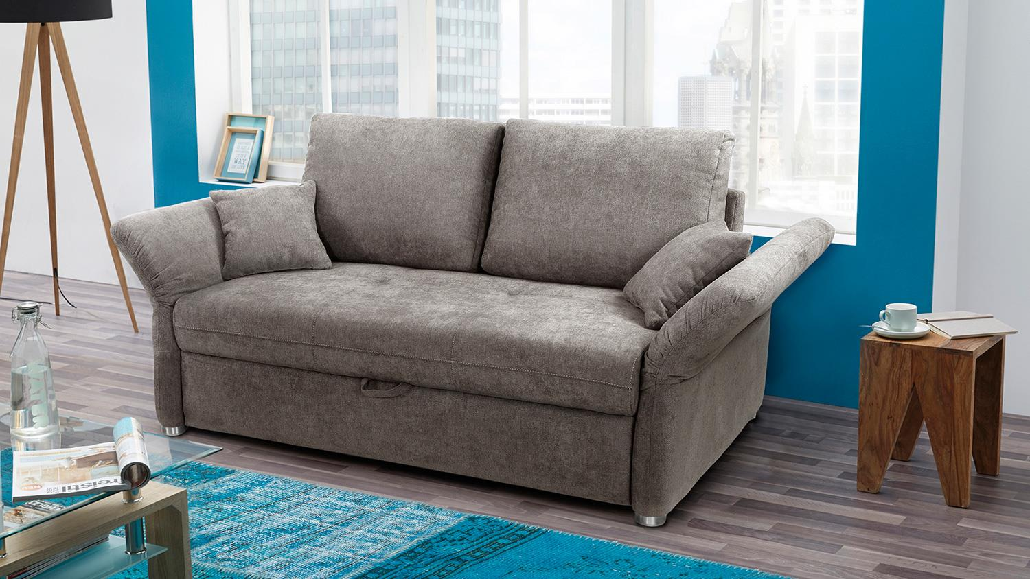 Funktionssofa luca sofa in greige mit bettfunktion 140 cm for Sofa mit bettfunktion