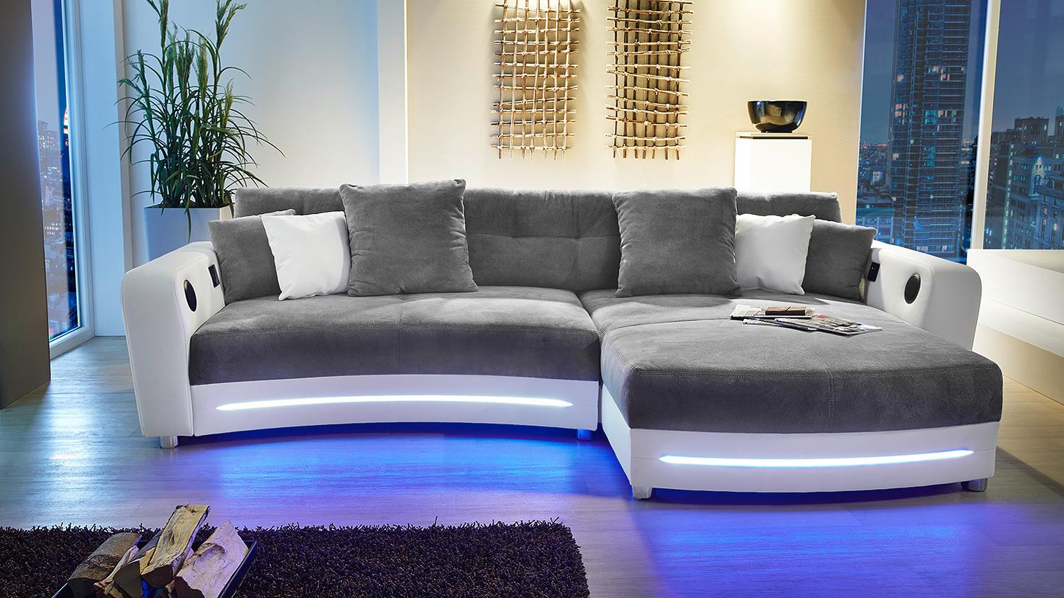 wohnlandschaft laredo sofa wei grau mit led und soundsystem. Black Bedroom Furniture Sets. Home Design Ideas