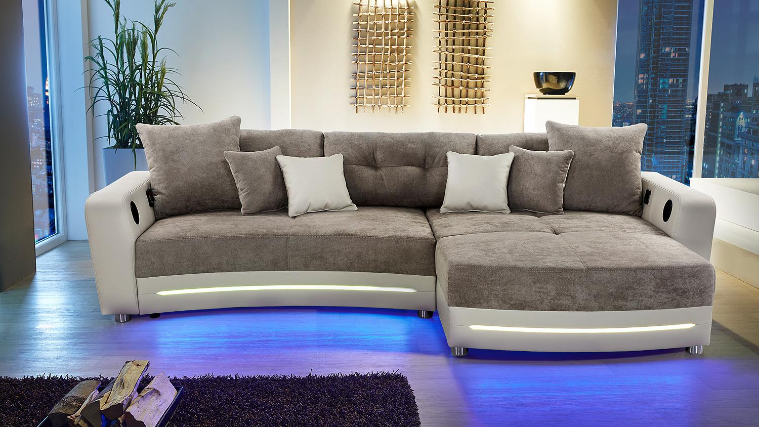 wohnlandschaft laredo sofa in greige mit led und soundsystem. Black Bedroom Furniture Sets. Home Design Ideas