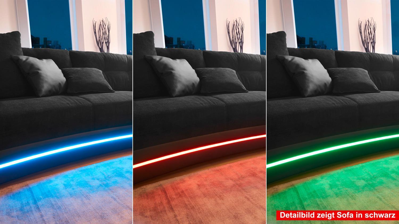 Wohnlandschaft LAREDO Sofa in greige mit LED und Soundsystem
