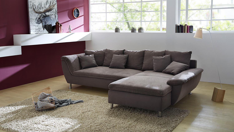 Wohnlandschaft amarillo ecksofa sofa in braun 295 cm for Ecksofa wohnlandschaft