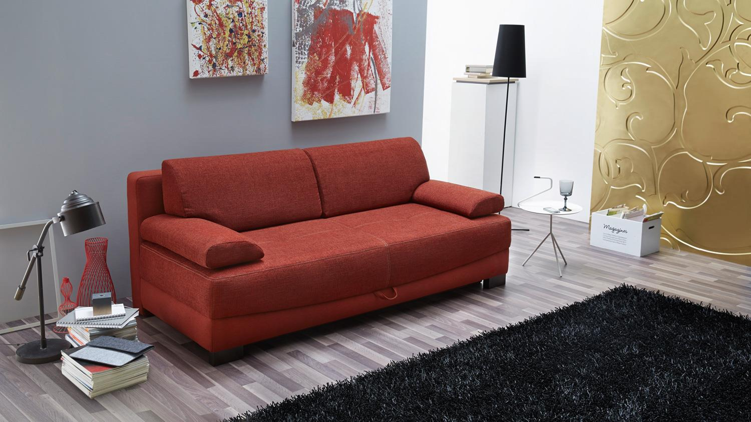 Funktionssofa angelosa schlafsofa sofa in rot 200 cm for Couch 200 cm