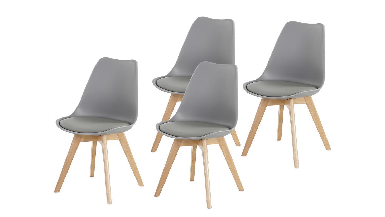 Stuhl borkum 4er set kunststoff grau beine in buche massiv for Stuhl leder grau