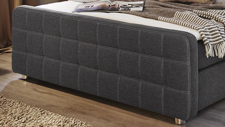 boxspringbett joy 180x200 bett grau braun inkl topper. Black Bedroom Furniture Sets. Home Design Ideas