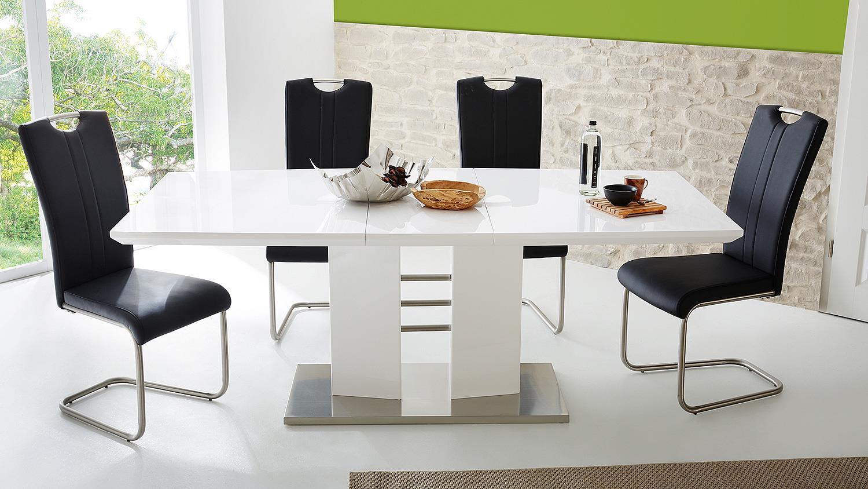Schwingstuhl Bremen 4er Set Stuhl In Schwarz Mit Griff