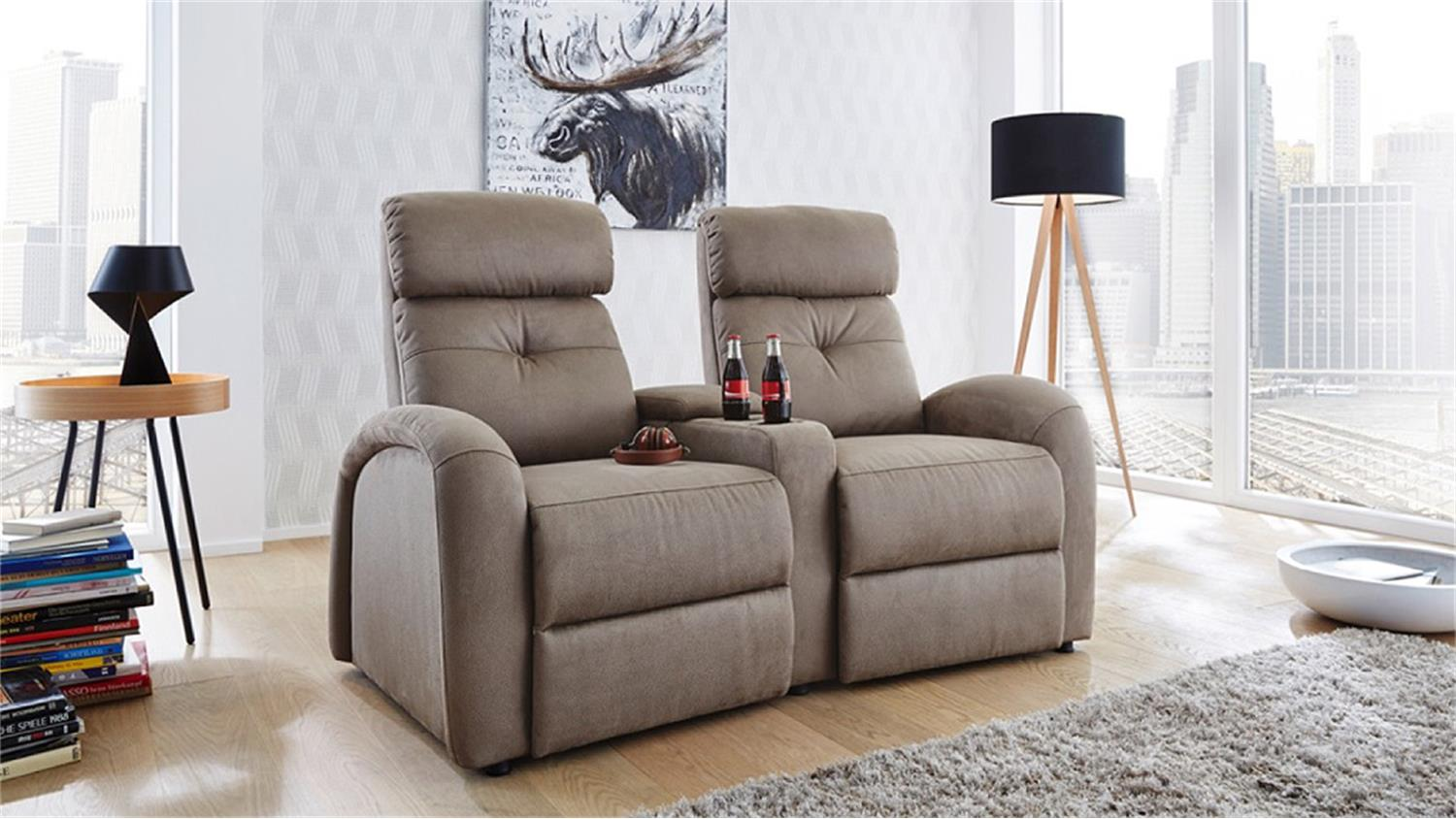 cinema sessel 2er houston braun beige mit getr nkehalter. Black Bedroom Furniture Sets. Home Design Ideas