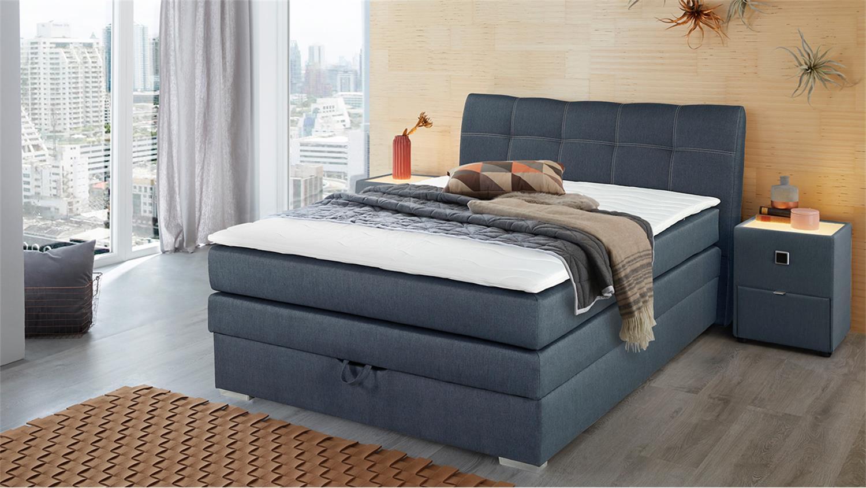 boxspringbett amelie 140 graublau mit bettkasten topper. Black Bedroom Furniture Sets. Home Design Ideas