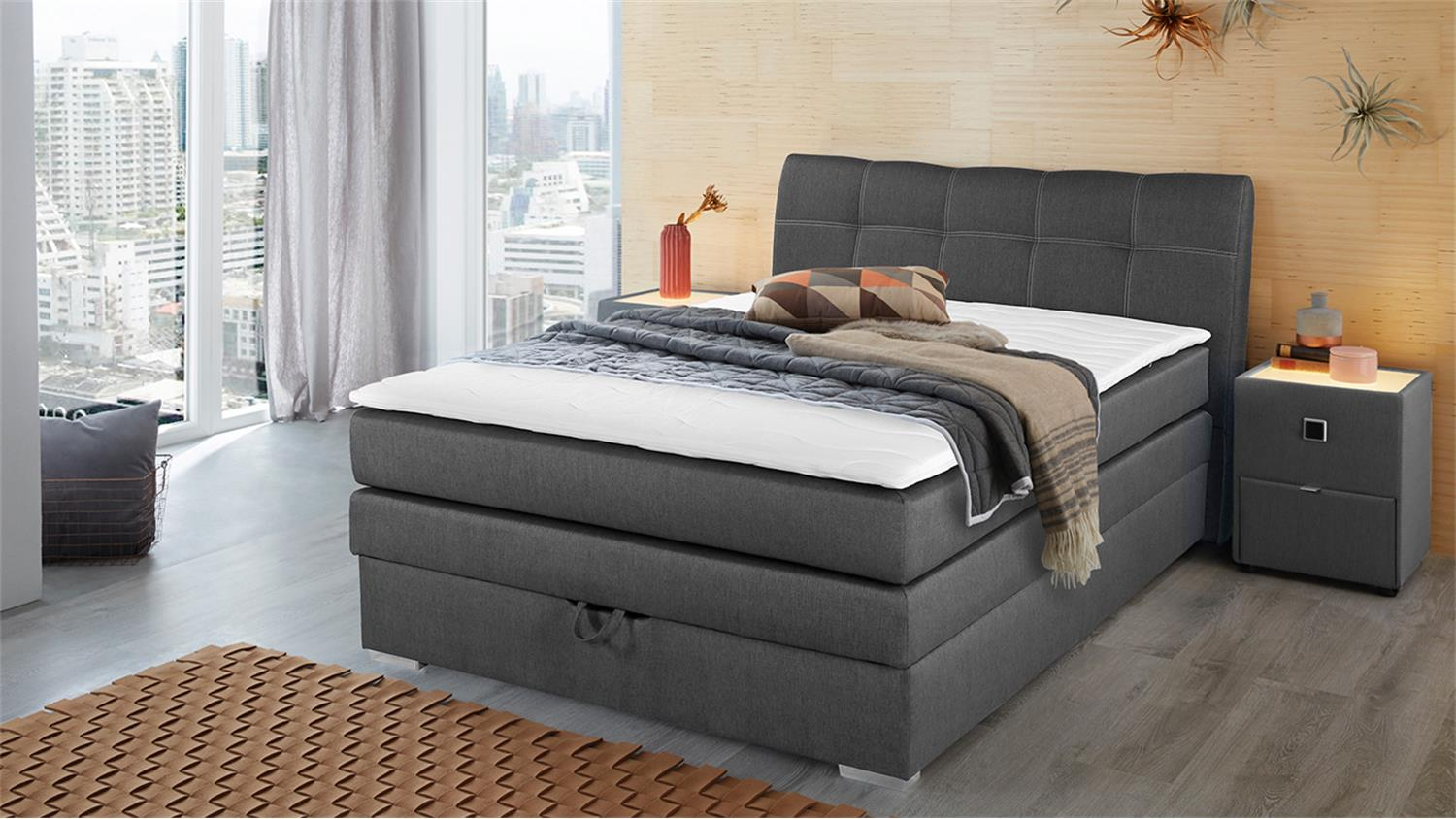 boxspringbett amelie 140 graubraun mit bettkasten topper. Black Bedroom Furniture Sets. Home Design Ideas