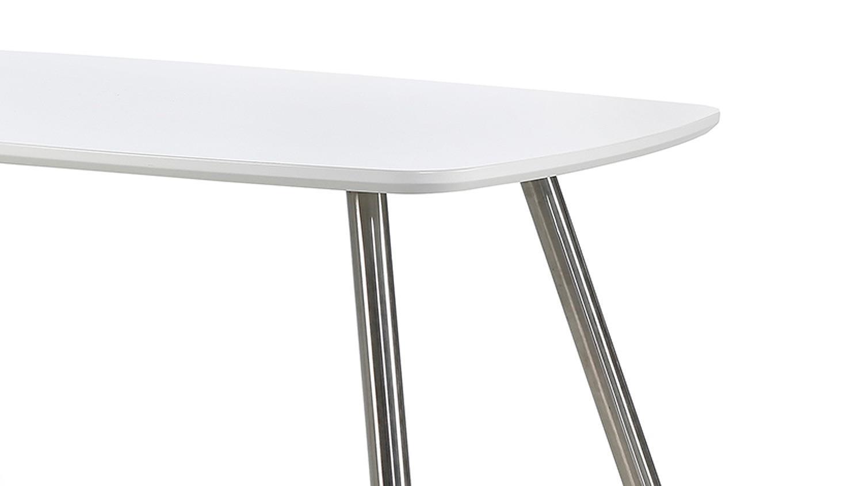 esstisch ascona platte wei matt beine edelstahl 150 90 cm. Black Bedroom Furniture Sets. Home Design Ideas