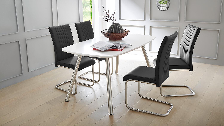 esstisch ascona platte wei matt beine edelstahl 150x90 cm. Black Bedroom Furniture Sets. Home Design Ideas