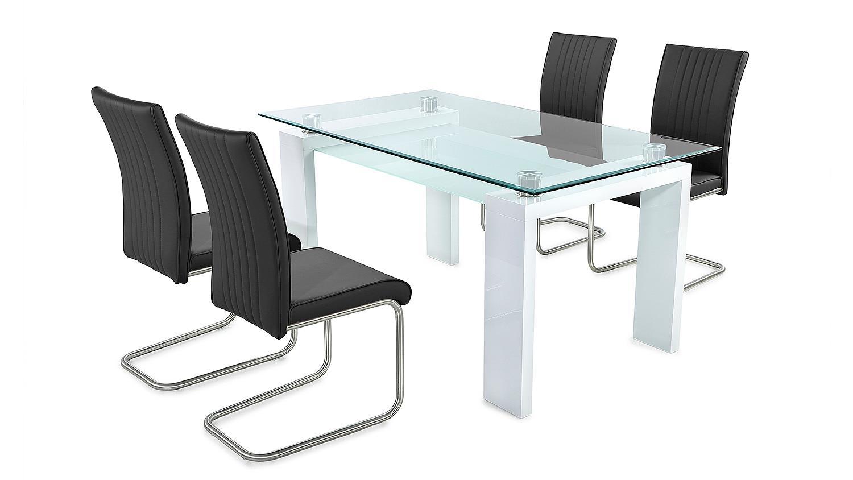 tischgruppe witten pool klarglas wei hochglanz schwarz. Black Bedroom Furniture Sets. Home Design Ideas