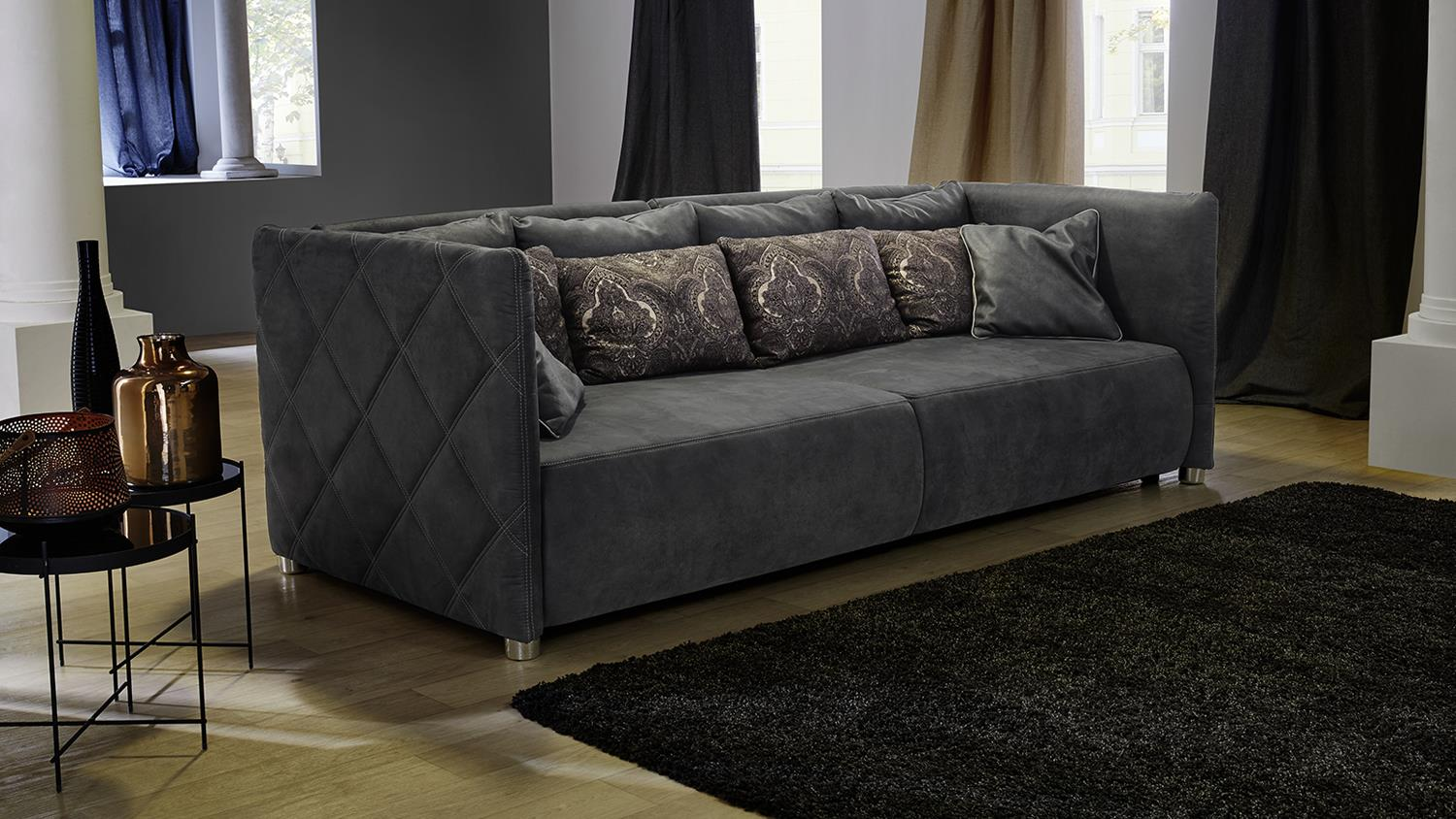 big sofa treviso nubukoptik lederlook grau inklusive kissen. Black Bedroom Furniture Sets. Home Design Ideas