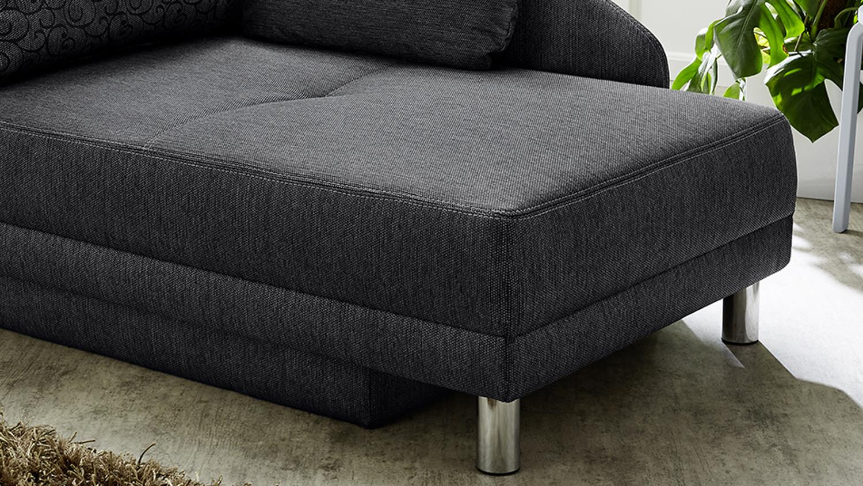 recamiere roy in stoff anthrazit mit schlaffunktion und. Black Bedroom Furniture Sets. Home Design Ideas