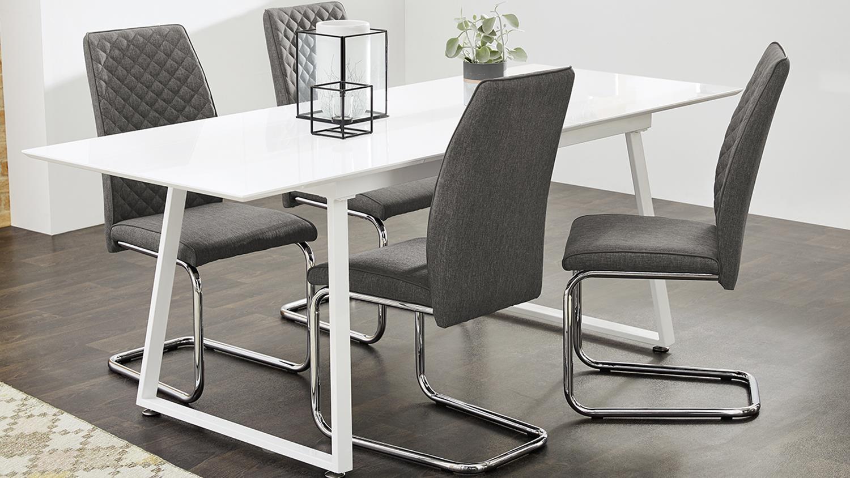 schwingstuhl benno 4er set stuhl webstoff grau und chrom. Black Bedroom Furniture Sets. Home Design Ideas