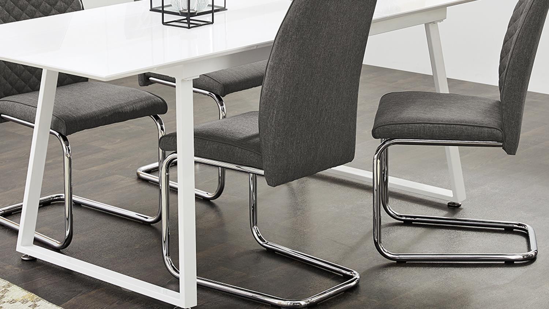 essgruppe aaron ausziehtisch wei hochglanz mit 4x stuhl. Black Bedroom Furniture Sets. Home Design Ideas