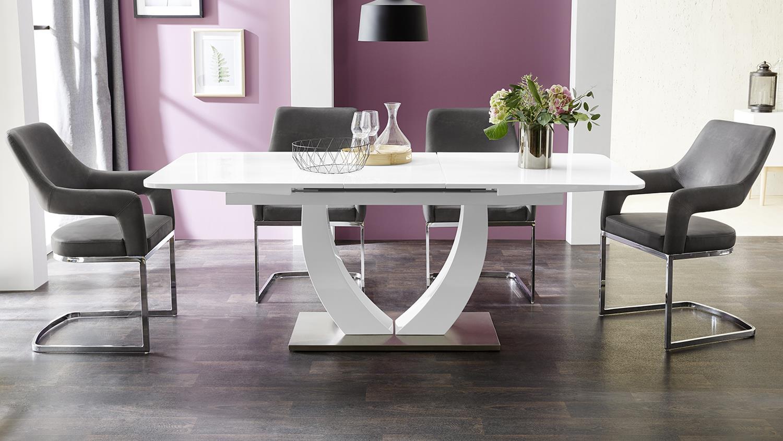 esstisch ulm wei glas und wei hochglanz ausziehtisch 160 200x90cm. Black Bedroom Furniture Sets. Home Design Ideas