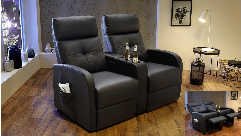 Sessel mit liegefunktion  Cinemasessel IMPERIAL Sessel Lederlook schwarz mit Liegefunktion