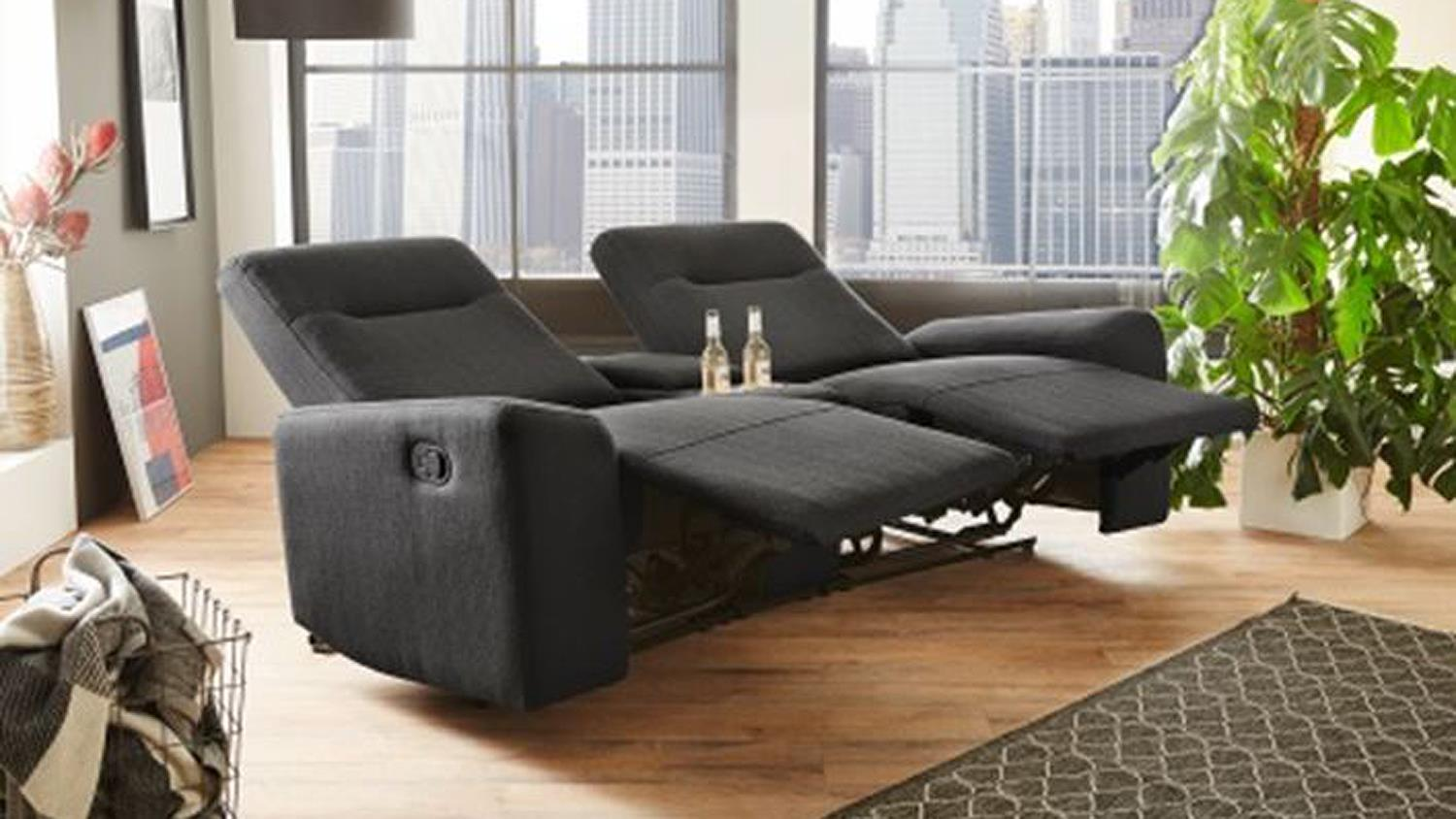 2er cinemasessel seattle sessel stoff dunkelgrau liegefunktion. Black Bedroom Furniture Sets. Home Design Ideas