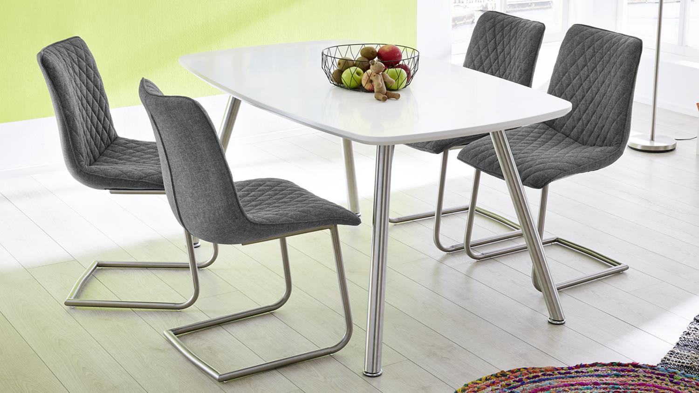 4er set schwingstuhl osaka stuhl in stoff grau und. Black Bedroom Furniture Sets. Home Design Ideas