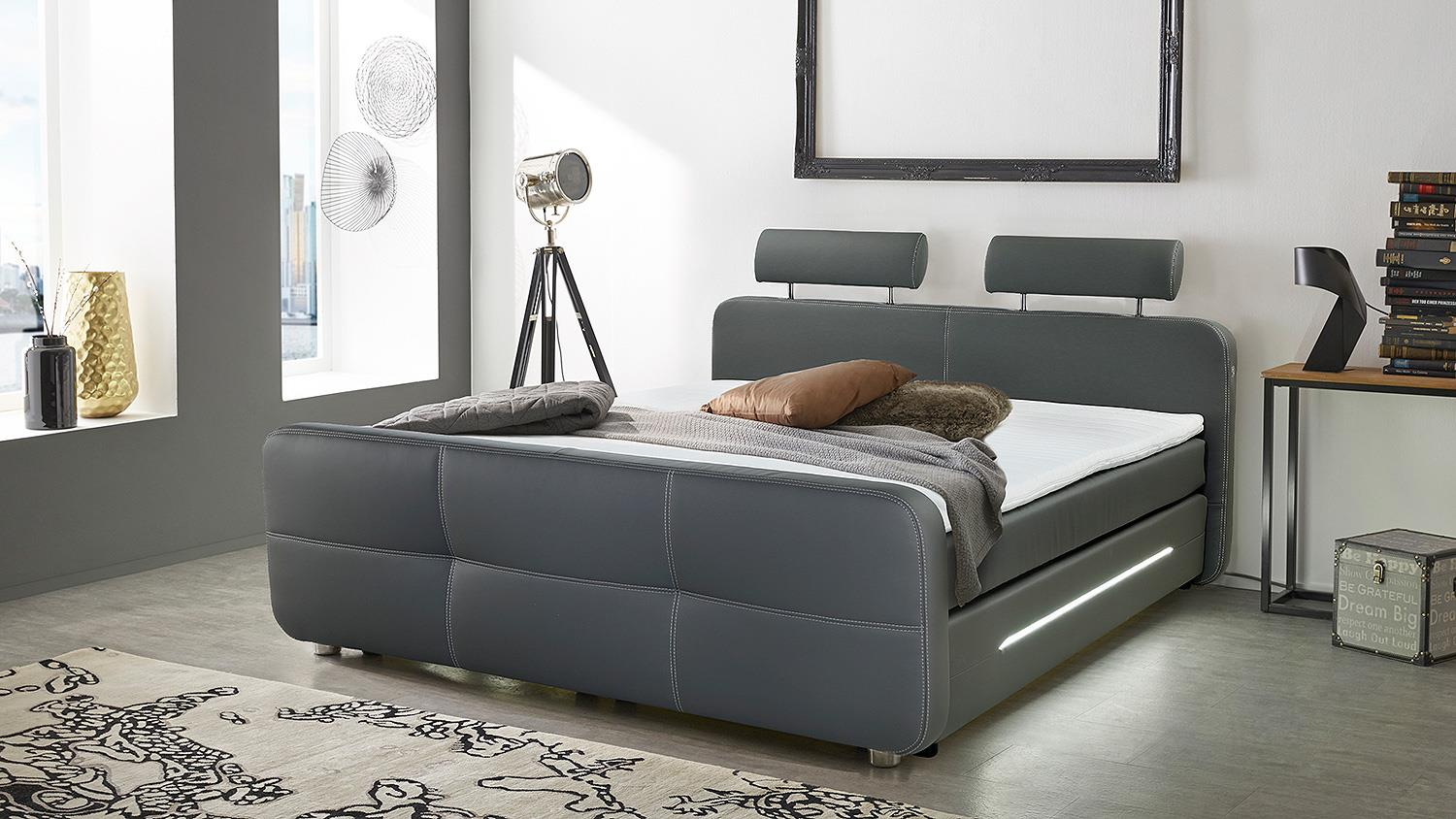 boxspringbett gina bett in grau mit topper und led 180x200 cm. Black Bedroom Furniture Sets. Home Design Ideas