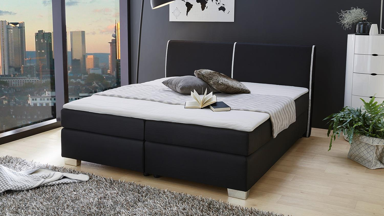 boxspringbett sally bett in schwarz f r schlafzimmer mit. Black Bedroom Furniture Sets. Home Design Ideas