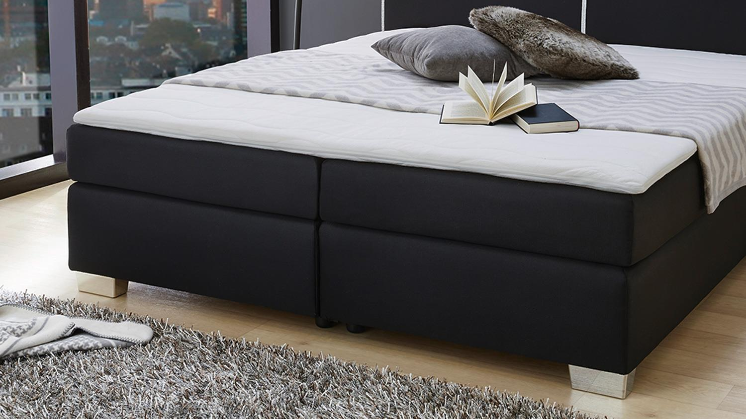 boxspringbett sally bett in schwarz f r schlafzimmer mit topper 180x200. Black Bedroom Furniture Sets. Home Design Ideas