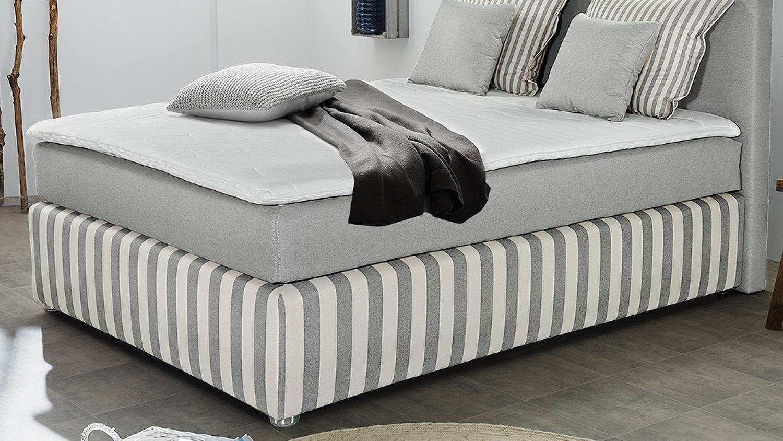 Boxspringbett Stinas Bett Grau Weiß Für Schlafzimmer Mit Topper 140