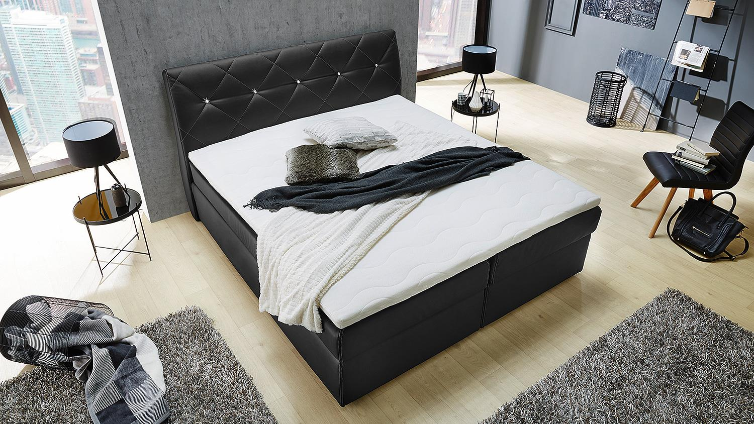 boxspringbett samantha bett f r schlafzimmer in schwarz mit topper 180. Black Bedroom Furniture Sets. Home Design Ideas