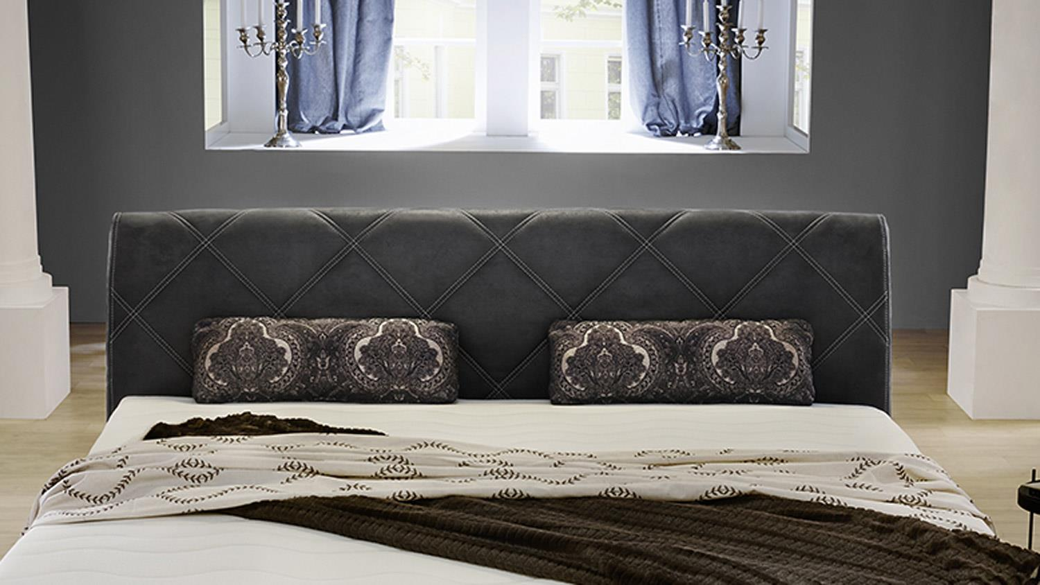 boxspringbett rebecca schlafzimmer bett antikoptik grau mit topper 180. Black Bedroom Furniture Sets. Home Design Ideas