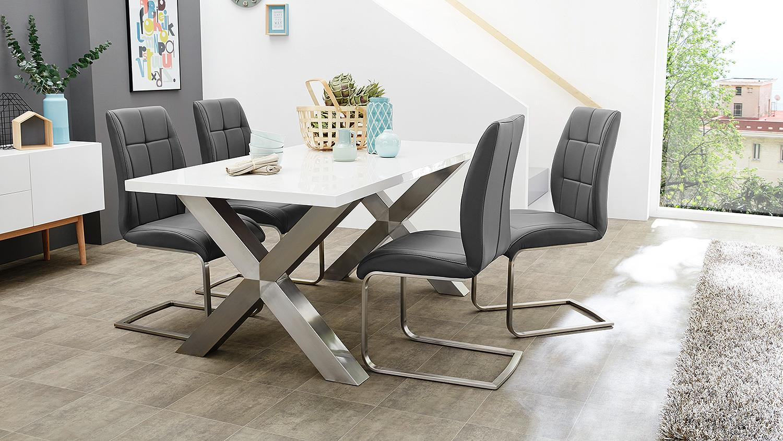 esstisch alexis esszimmertisch tisch 180 x 90 wei hochglanz. Black Bedroom Furniture Sets. Home Design Ideas