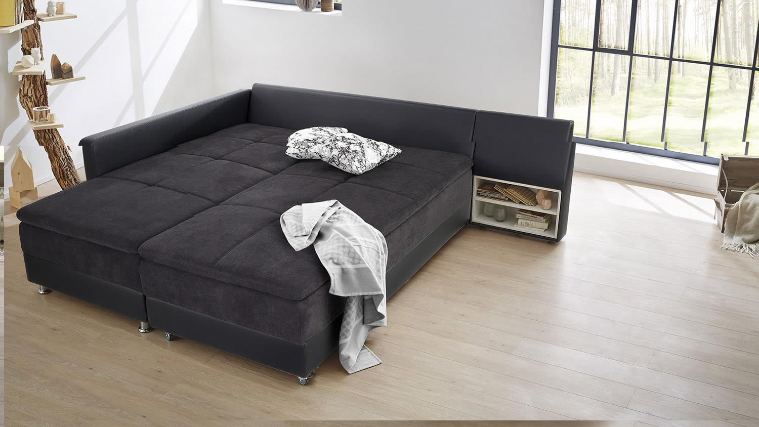 wohnlandschaft rechts modena ecksofa sofa bett in schwarz mit nako. Black Bedroom Furniture Sets. Home Design Ideas