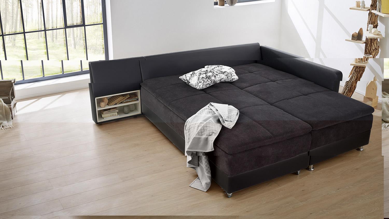 Wohnlandschaft Links Modena Ecksofa Sofa Bett In Schwarz Mit Nako