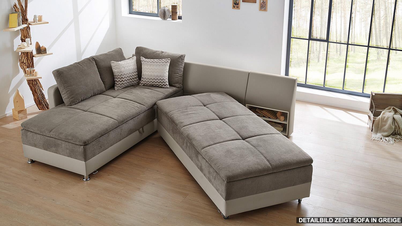 wohnlandschaft rechts modena ecksofa sofa bett in wei. Black Bedroom Furniture Sets. Home Design Ideas