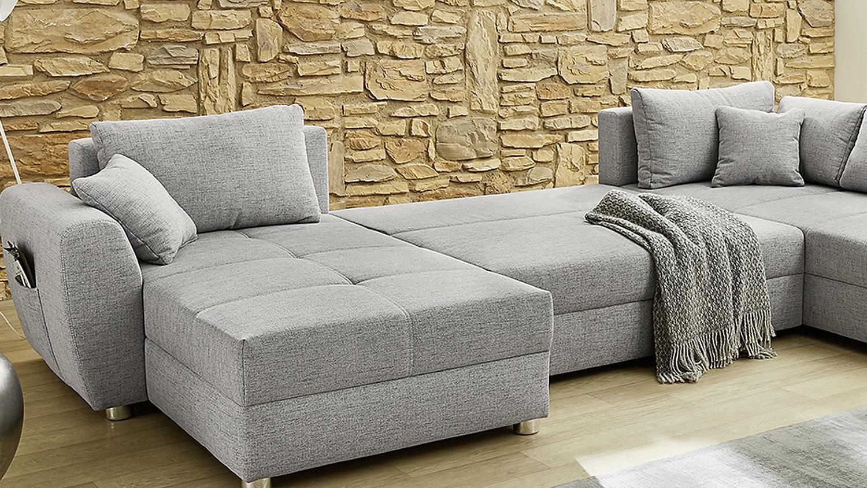 Wohnlandschaft U Form Sofa Starnberg Grau Bettfunktion