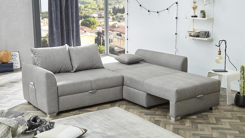 Wohnlandschaft BOOMER Ecksofa Sofa in grau mit Bettfunktion 236x160 cm