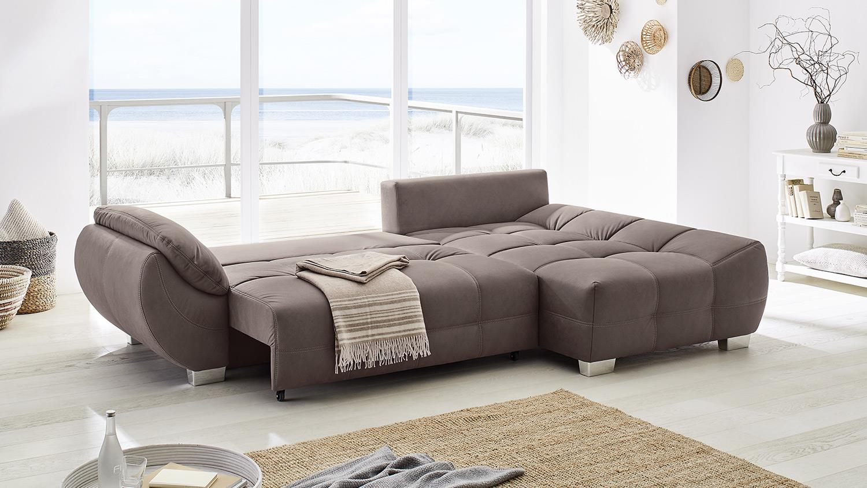 Wohnlandschaft RUBY Ecksofa Sofa in braun mit Bettfunktion 288x184 cm