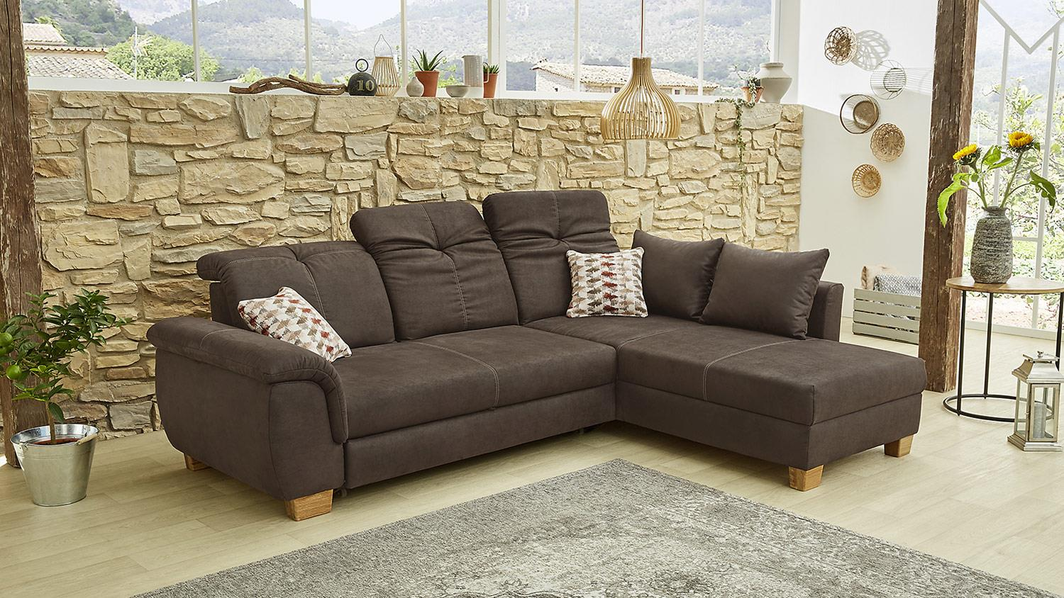 ecksofa country sofa wohnlandschaft in antik braun mit funktion 270 cm. Black Bedroom Furniture Sets. Home Design Ideas