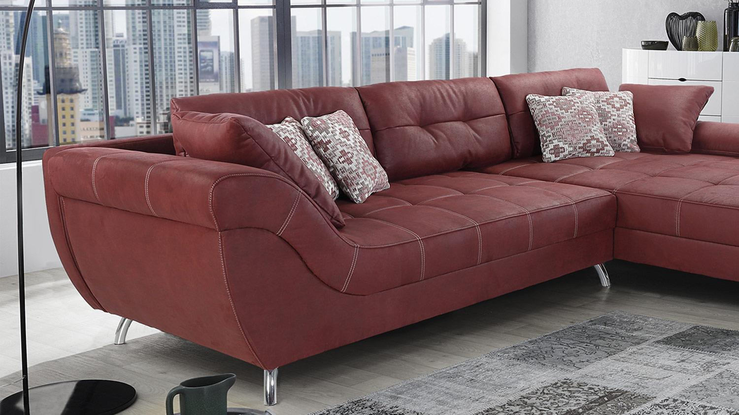Wohnlandschaft San Francisco Sofa Ecksofa Polstersofa In Antik Rot