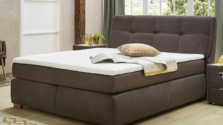 boxspringbett chiara bett schlafzimmerbett in dunkelbraun mit topper. Black Bedroom Furniture Sets. Home Design Ideas