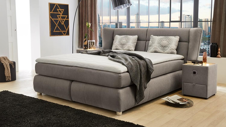 boxspringbett florentine bett polsterbett in grau braun. Black Bedroom Furniture Sets. Home Design Ideas