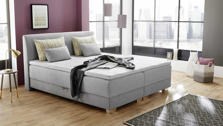 boxspringbett julias bett schlafzimmerbett grau mit. Black Bedroom Furniture Sets. Home Design Ideas