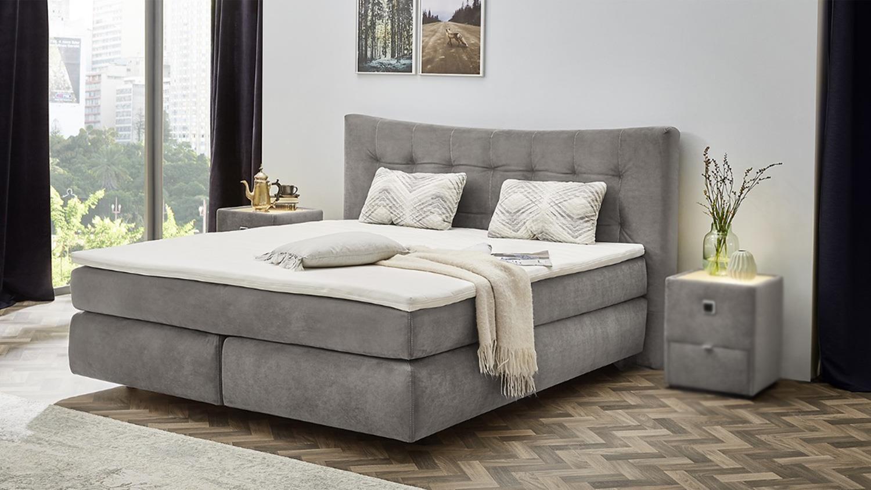 boxspringbett gretas bett schlafzimmerbett in samt grau. Black Bedroom Furniture Sets. Home Design Ideas