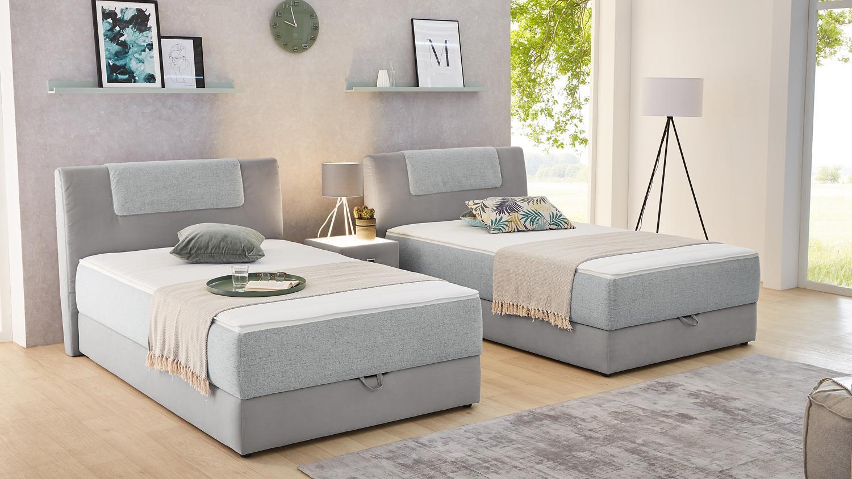 Komfort Schlafzimmer Josie Boxspringbett Grau Mit Topper Bettkasten