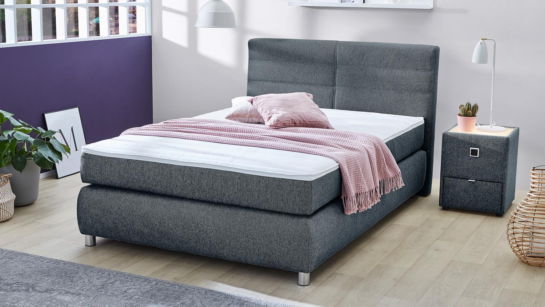 boxspringbett franzie bett schlafzimmerbett in blau mit. Black Bedroom Furniture Sets. Home Design Ideas