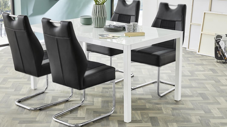 esstisch timbas esszimmertisch tisch in wei mit glas 150x90 cm. Black Bedroom Furniture Sets. Home Design Ideas