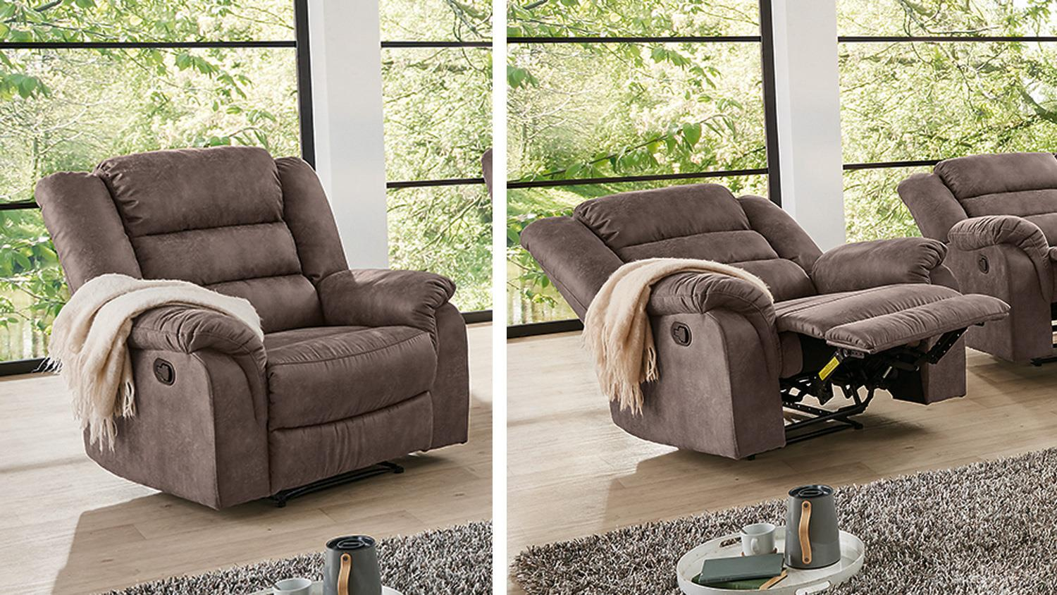 fernsehsessel cleveland sessel sofa relaxsessel mit funktion in braun. Black Bedroom Furniture Sets. Home Design Ideas